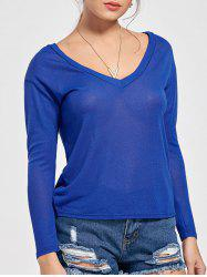 V Neck Semi Sheer Knitted Top