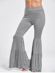 High Waist Ruffle Layered Flare Pants - GRAY