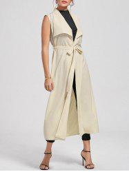 Maxi Sleeveless Waterfall Trench Coat - LIGHT BEIGE