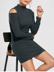 Cold Shoulder Mini Sweater Bodycon Dress