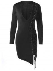 Lace Up Plunge Long Sleeve Skin Tight Dress - BLACK