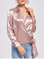 Self Tie Casual Wrap Blouse