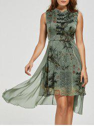 Mandarin Collar Floral High Low Chinese Dress - Vert