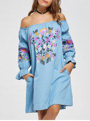 Floral Off The Shoulder Shift Dress - AZURE