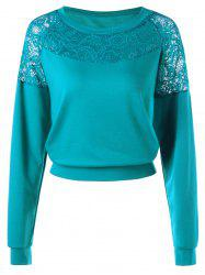 Pullover Drop Shoulder Lace Panel Sweatshirt