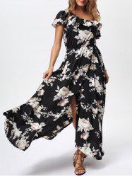 Floral Flounce Slit Maxi Dress with Short Sleeves