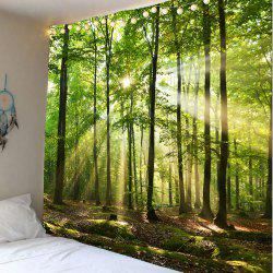 Forest Sunlight Decorative Wall Art Tapestry - GREEN