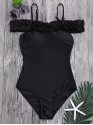 Maillot de bain Ruffled One Piece Out Shoulder - Noir L