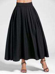 Pleated High Waist Maxi A Line Skirt - BLACK