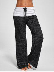 Foldover Heather Palazzo Pants - BLACK GREY