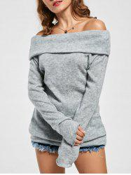 Off The Shoulder Sweater - GRAY