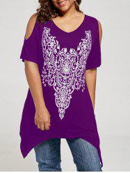 Plus Size Cold Shoulder Tunic Top -