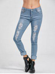 Ripped Low Rise Cuffed Jeans
