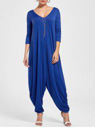 Draped V Neck Cut Out Harem Jumpsuit - BLUE