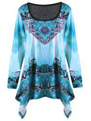 Plus Size Ombre Tribal Print Asymmetric T-shirt