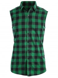 Checked Twill Sleeveless Shirt