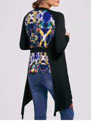 Printed High Low Open Front Cardigan -