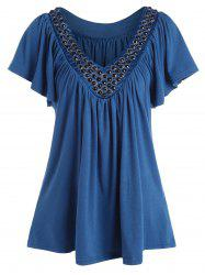 Plus Size V Neck Beaded Top -