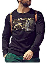 Plus Size Camo Insert Pocket Sweatshirt -