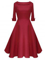 Mid Calf Bowknot Vintage Dress -