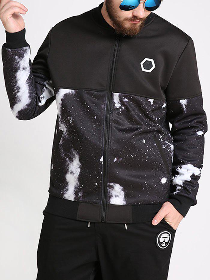 New Plus Size Galaxy Printed Bomber Jacket