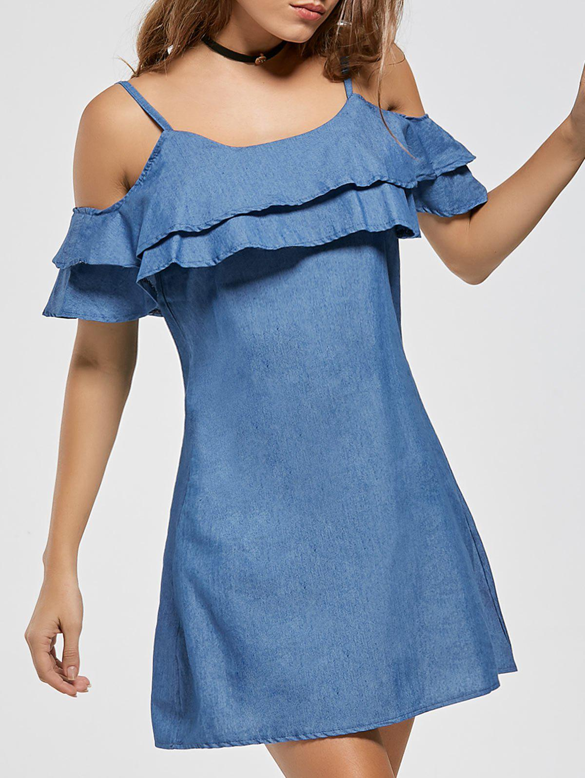Ruffle Spaghetti Strap Cold Shoulder Mini DressWOMEN<br><br>Size: L; Color: BLUE; Style: Cute; Material: Polyester; Silhouette: Shift; Dresses Length: Mini; Neckline: Spaghetti Strap; Sleeve Length: Short Sleeves; Pattern Type: Solid Color; With Belt: No; Season: Summer; Weight: 0.2200kg; Package Contents: 1 x Dress; Occasion: Casual;