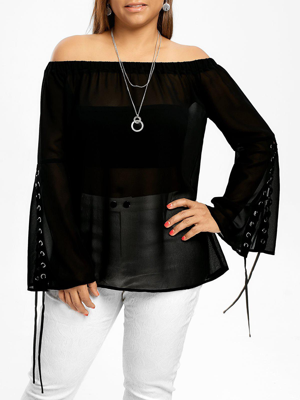e715872a8e0 2019 Plus Size Lace Up OFF The Shoulder Top