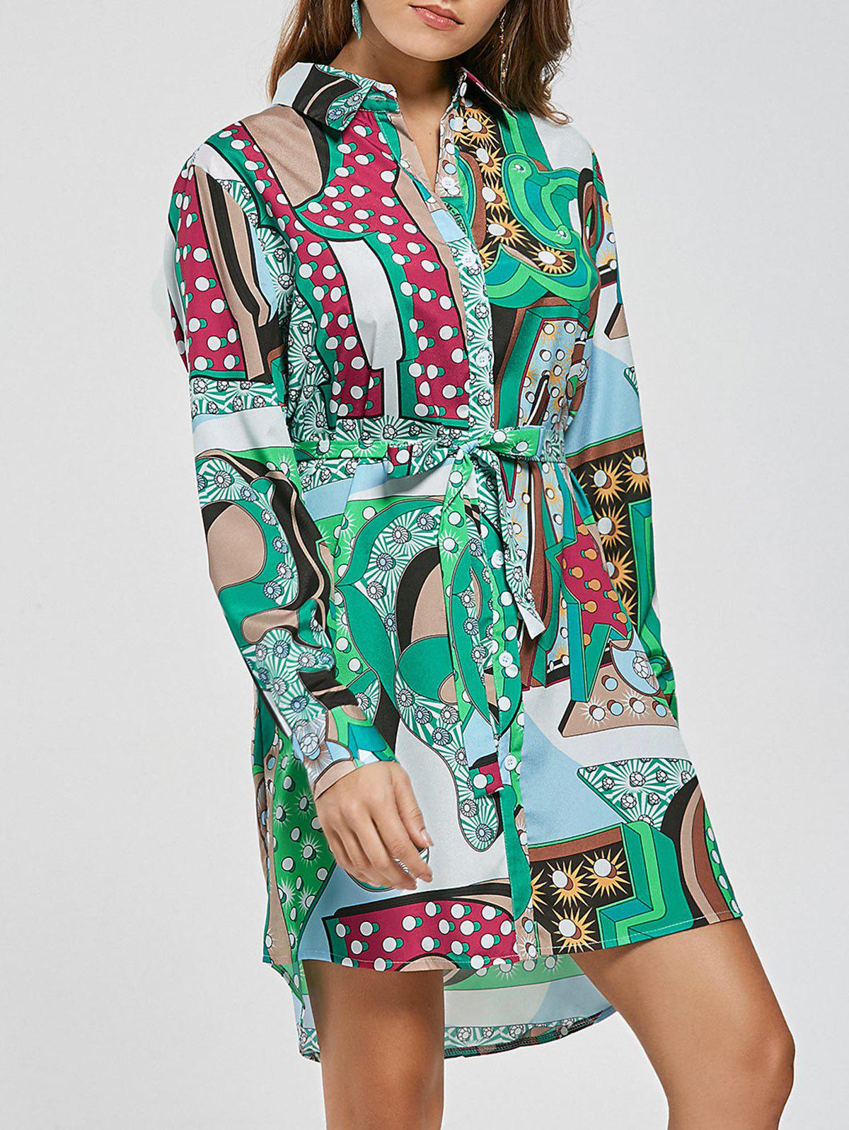 Outfit Long Sleeve High Low Printed Mini Shirt Dress