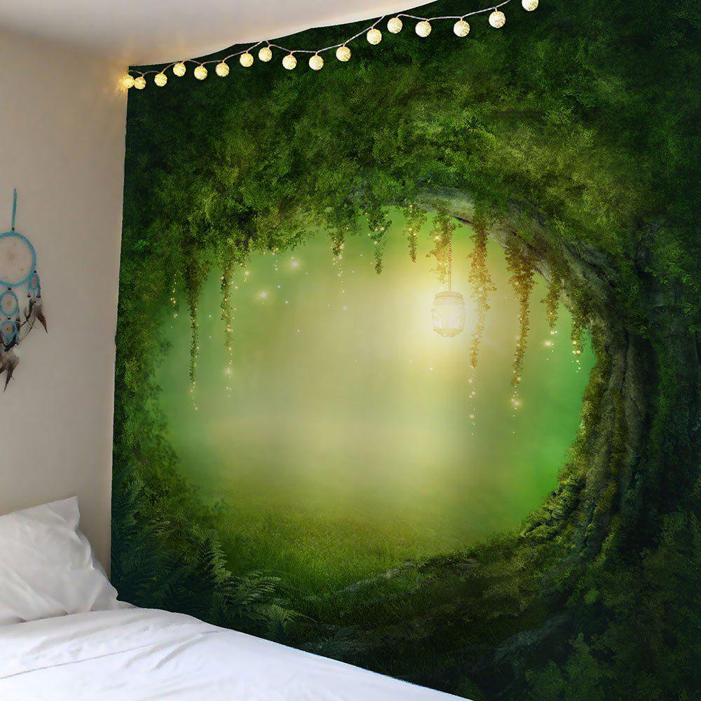 Tree Hole Light Waterproof Velvet Wall TapestryHOME<br><br>Size: W79 INCH * L59 INCH; Color: GREEN; Style: Natural; Material: Velvet; Feature: Removable,Washable; Shape/Pattern: Plant; Weight: 0.3000kg; Package Contents: 1 x Tapestry;
