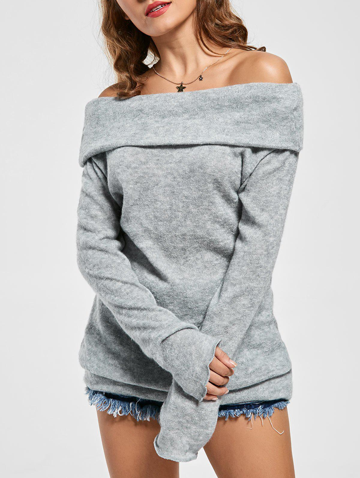 Off The Shoulder SweaterWOMEN<br><br>Size: XL; Color: GRAY; Type: Pullovers; Material: Cotton,Polyester; Sleeve Length: Full; Collar: Off The Shoulder; Style: Casual; Pattern Type: Solid; Season: Fall; Elasticity: Elastic; Weight: 0.3100kg; Package Contents: 1 x Sweater;