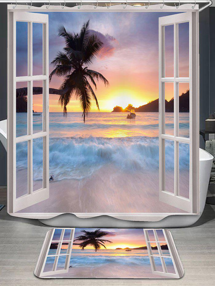 Window Scenery Printed Shower Curtain and RugHOME<br><br>Color: COLORMIX; Products Type: Shower Curtains; Materials: Flannel,Polyester; Pattern: Scenic; Style: Beach Style; Package Contents: 1 x Shower Curtain 1 x Rug;