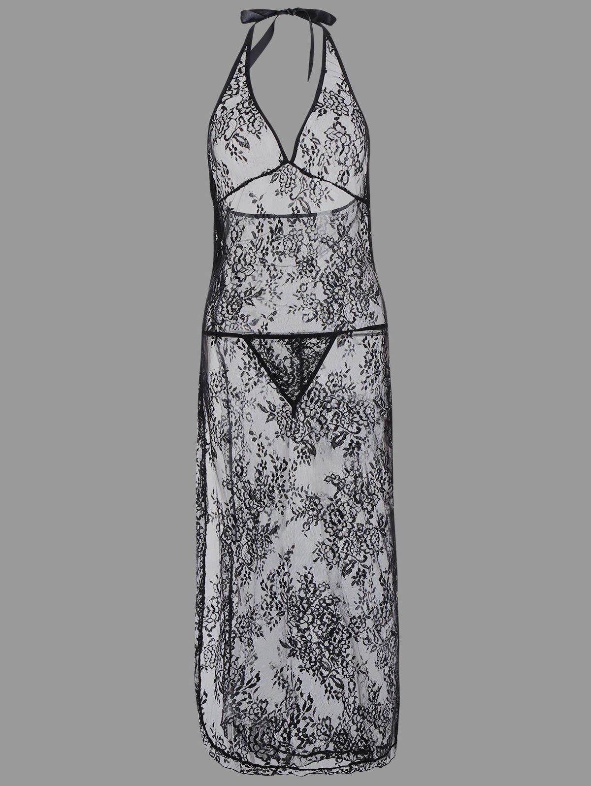 704e8fdd3f6 Outfits Plus Size Lace Sheer Maxi Babydoll Dress