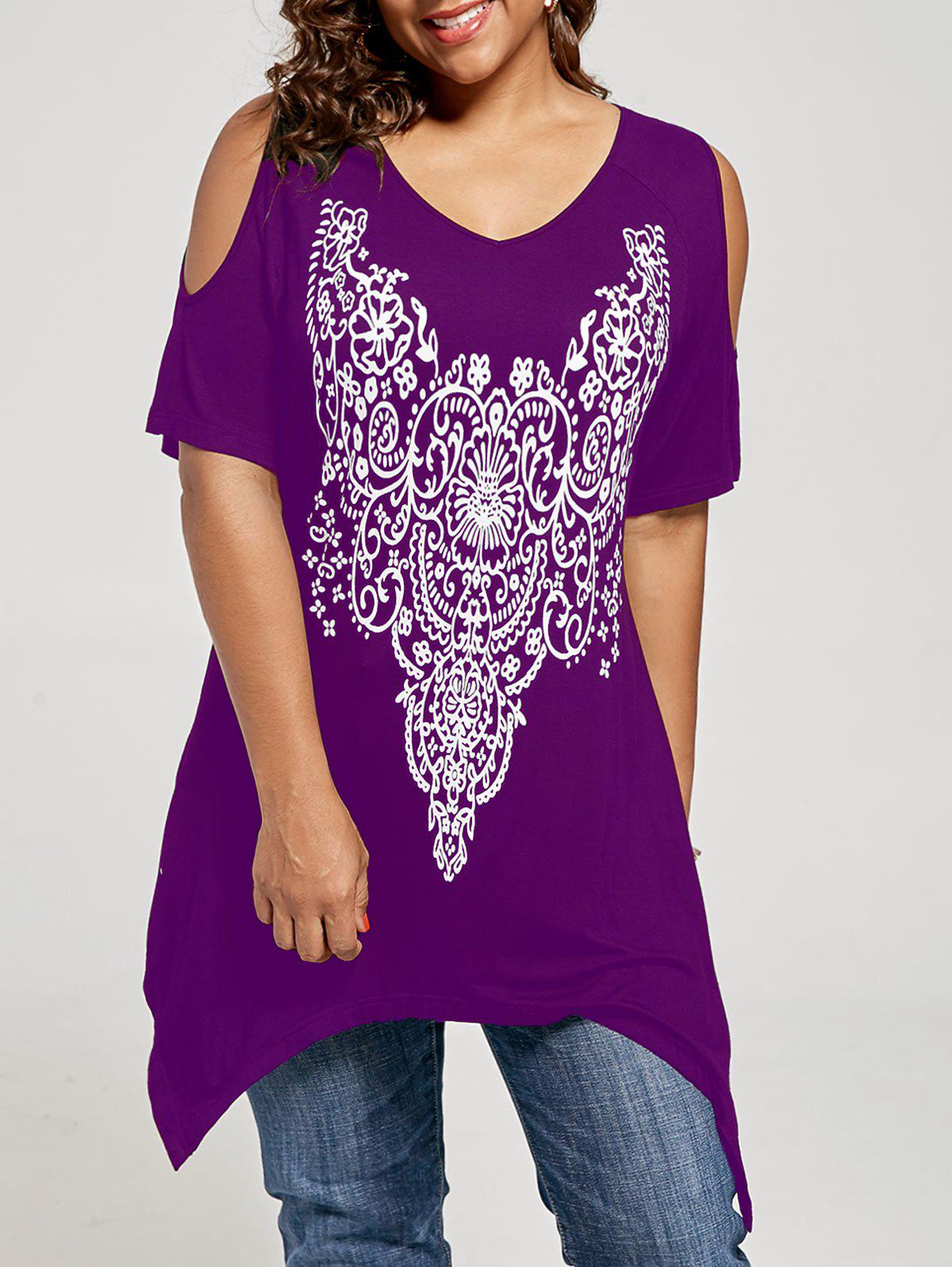 Plus Size Cold Shoulder Tunic TopWOMEN<br><br>Size: 4XL; Color: PURPLE; Material: Rayon,Spandex; Shirt Length: Long; Sleeve Length: Short; Collar: V-Neck; Style: Casual; Season: Summer; Pattern Type: Others; Weight: 0.3020kg; Package Contents: 1 x T-shirt;