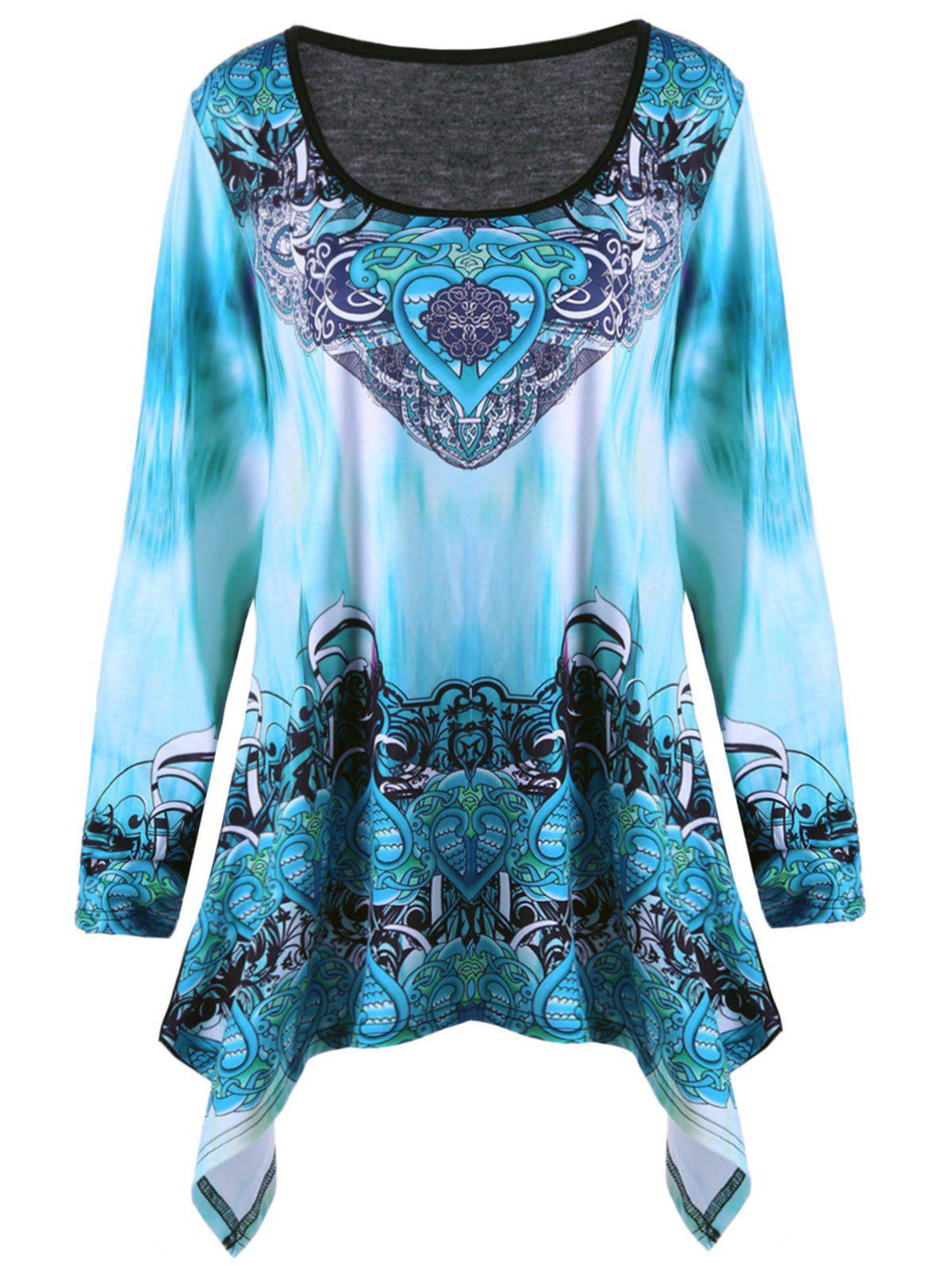 Plus Size Ombre Tribal Print Asymmetric T-shirtWOMEN<br><br>Size: 2XL; Color: COLORMIX; Material: Cotton,Polyester; Shirt Length: Long; Sleeve Length: Full; Collar: U Neck; Style: Fashion; Season: Fall; Pattern Type: Ombre,Tribal Print; Weight: 0.4200kg; Package Contents: 1 x T-shirt;