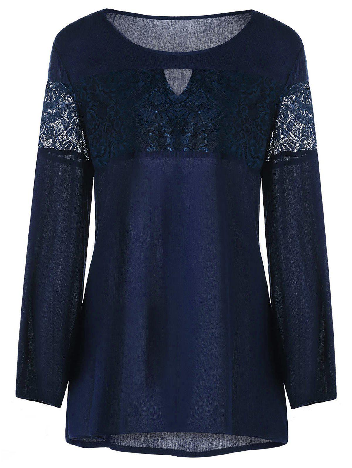 Plus Size Lace Trim Keyhole Neck BlouseWOMEN<br><br>Size: 5XL; Color: PURPLISH BLUE; Material: Rayon,Spandex; Shirt Length: Long; Sleeve Length: Full; Collar: Keyhole Neck; Style: Active; Season: Fall,Spring,Summer; Embellishment: Lace; Pattern Type: Solid; Weight: 0.2400kg; Package Contents: 1 x Blouse;