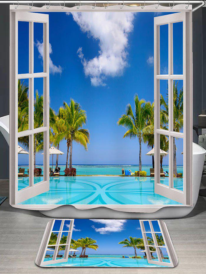 Coconut Trees Window Scenery Shower Curtain and RugHOME<br><br>Color: BLUE; Products Type: Shower Curtains; Materials: Flannel,Polyester; Pattern: Scenic; Style: Beach Style; Package Contents: 1 x Shower Curtain 1 x Rug;