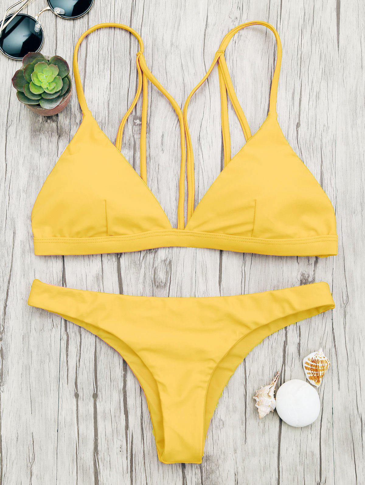 Fancy Back Strappy Padded Bathing Suit