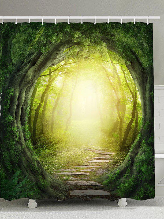 Image of Sunlight Pathway Tree Hole Waterproof Shower Curtain