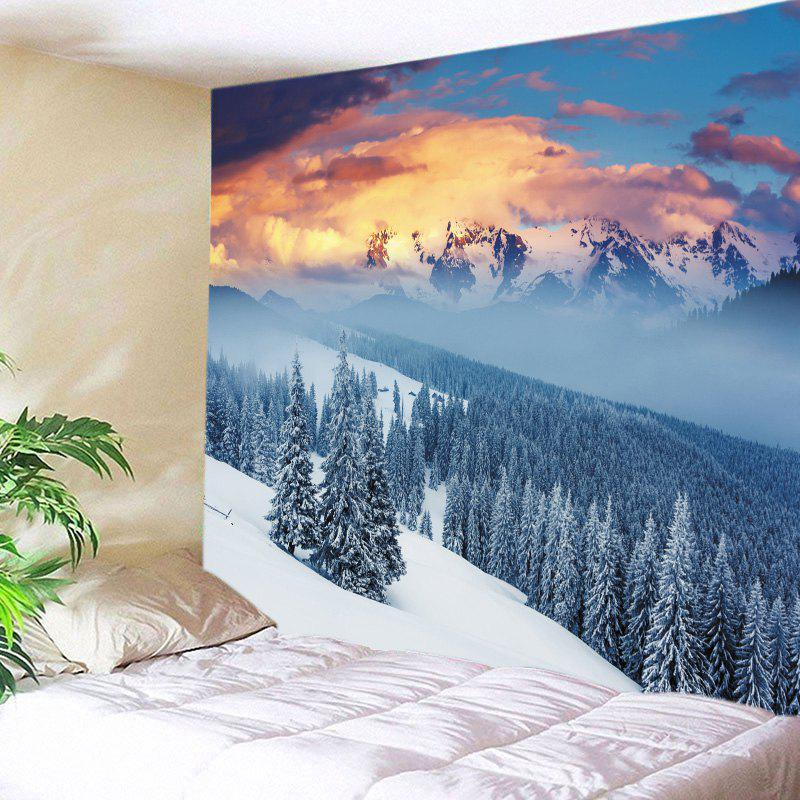 Snow Mountain Print Tapestry Wall Hanging Art DecorationHOME<br><br>Size: W79 INCH * L59 INCH; Color: WHITE; Style: Natural; Theme: Landscape; Material: Polyester; Feature: Washable; Shape/Pattern: Plant; Weight: 0.4500kg; Package Contents: 1 x Tapestry;