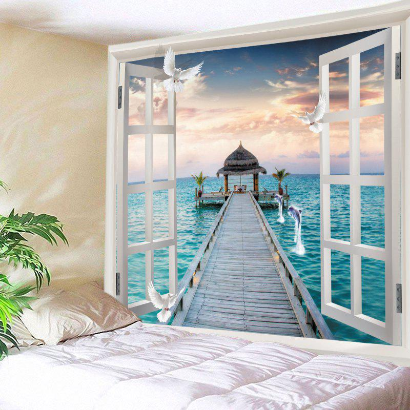 Window Sea Bridge Print Tapestry Wall Hanging Art DecorationHOME<br><br>Size: W79 INCH * L59 INCH; Color: OCEAN BLUE; Style: Natural; Theme: Landscape; Material: Polyester; Feature: Washable; Shape/Pattern: Animal,Print; Weight: 0.4500kg; Package Contents: 1 x Tapestry;