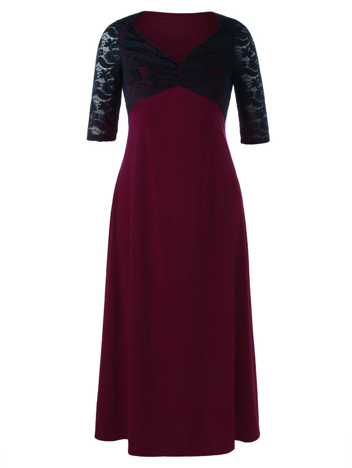 Plus Size Lace Yoke Two Tone Maxi DressWOMEN<br><br>Size: 3XL; Color: RED WITH BLACK; Style: Brief; Material: Polyester,Spandex; Silhouette: A-Line; Dresses Length: Ankle-Length; Neckline: V-Neck; Sleeve Length: Half Sleeves; Embellishment: Lace; Pattern Type: Floral; With Belt: No; Season: Summer; Weight: 0.5700kg; Package Contents: 1 x Dress;