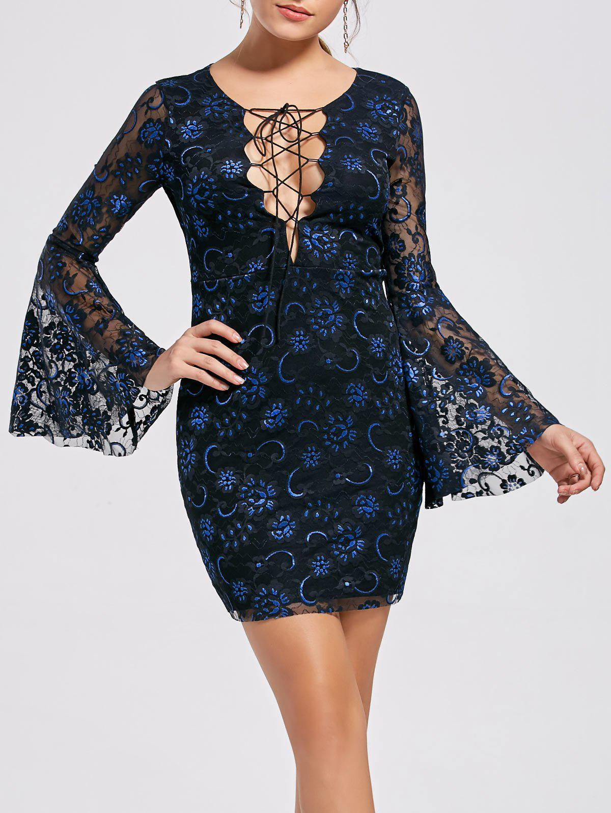 Latest Bell Sleeve Lace Up Lace Dress