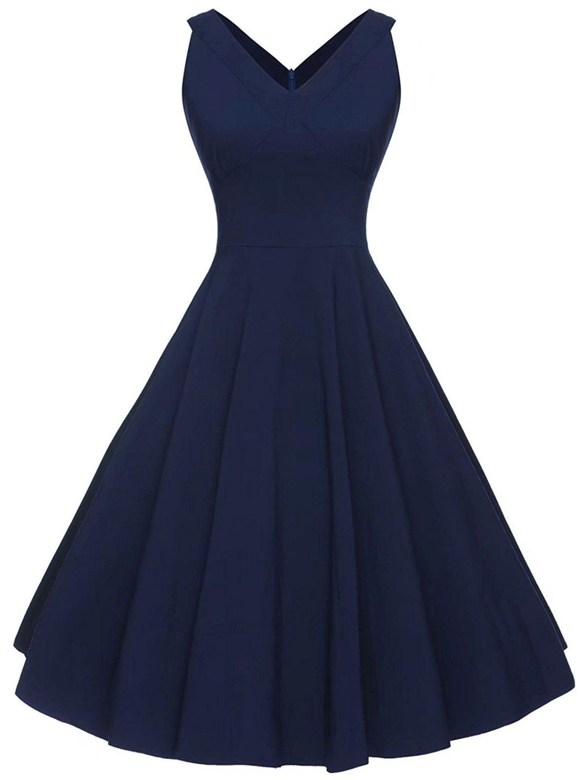 Vintage V-neck Sleeveless DressWOMEN<br><br>Size: 2XL; Color: PURPLISH BLUE; Style: Vintage; Material: Cotton,Polyester; Silhouette: A-Line; Dress Type: Fit and Flare Dress; Dresses Length: Mid-Calf; Neckline: V-Neck; Sleeve Length: Sleeveless; Pattern Type: Solid Color; With Belt: No; Season: Summer; Weight: 0.4000kg; Package Contents: 1 x Dress;