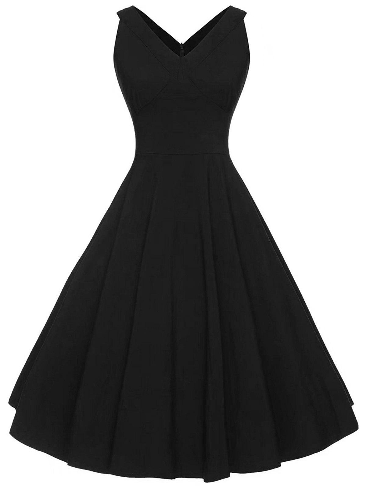 Vintage V-neck Sleeveless DressWOMEN<br><br>Size: S; Color: BLACK; Style: Vintage; Material: Cotton,Polyester; Silhouette: A-Line; Dress Type: Fit and Flare Dress; Dresses Length: Mid-Calf; Neckline: V-Neck; Sleeve Length: Sleeveless; Pattern Type: Solid Color; With Belt: No; Season: Summer; Weight: 0.4000kg; Package Contents: 1 x Dress;