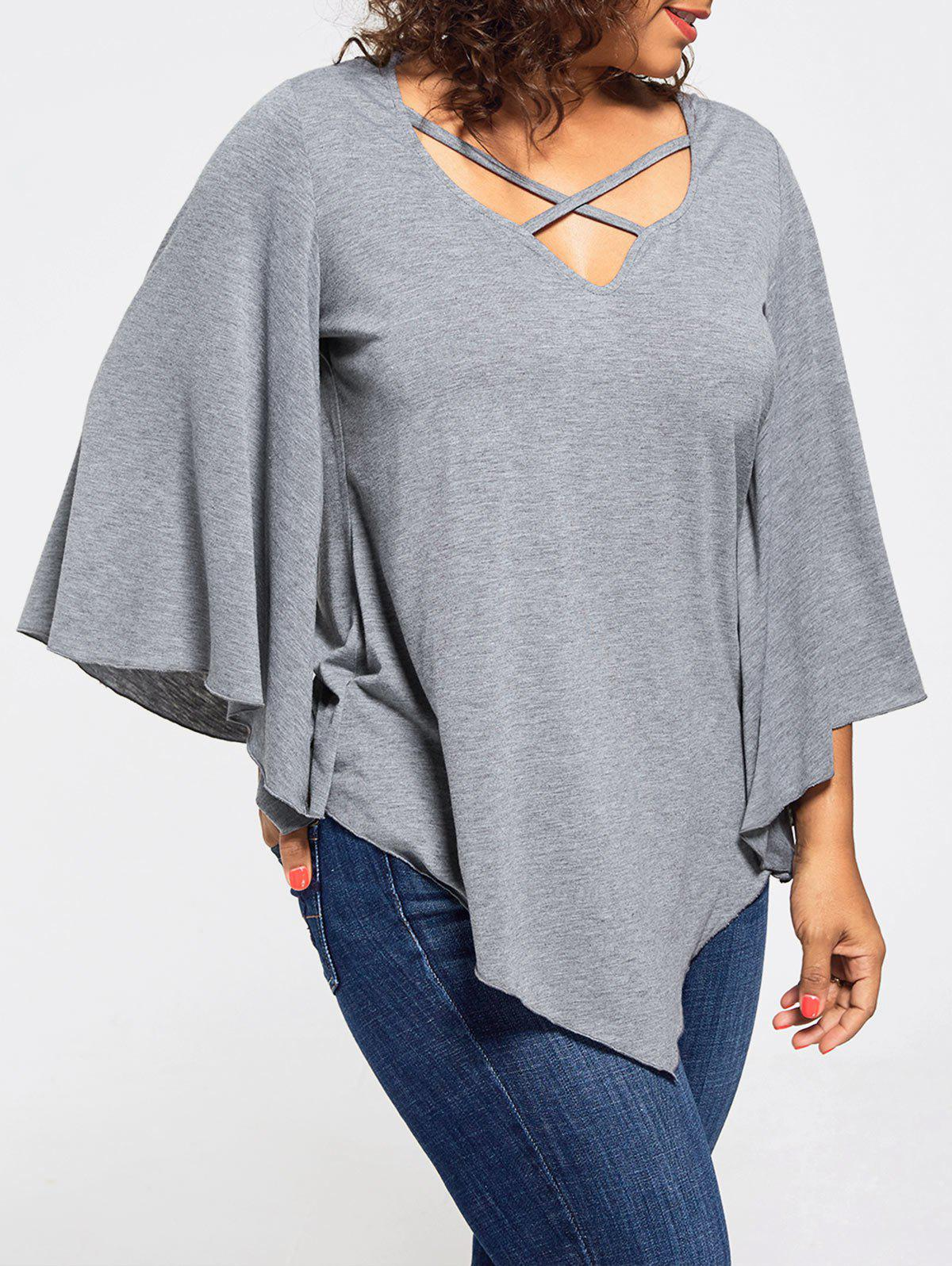 Lace Insert Batwing Sleeve Plus Size BlouseWOMEN<br><br>Size: 4XL; Color: GRAY; Material: Polyester,Spandex; Shirt Length: Regular; Sleeve Length: Three Quarter; Collar: V-Neck; Style: Fashion; Season: Fall,Spring; Sleeve Type: Batwing Sleeve; Embellishment: Criss-Cross,Lace; Pattern Type: Solid; Elasticity: Elastic; Weight: 0.3200kg; Package Contents: 1 x Blouse;