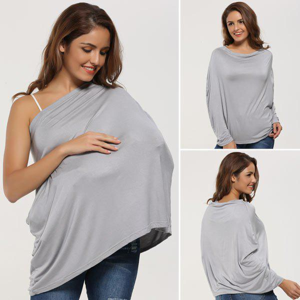 Breastfeeding Portable Nursing Cover ScarfACCESSORIES<br><br>Color: GRAY; Scarf Type: Scarf; Group: Adult; Gender: For Women; Style: Fashion; Material: Acrylic; Pattern Type: Striped; Season: Fall,Spring,Summer,Winter; Weight: 0.1000kg; Package Contents: 1 x Nursing Scarf;