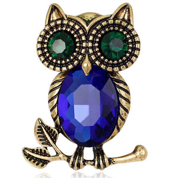 Owl Shape Retro Faux Crystal Inlaid BroochJEWELRY<br><br>Color: BLUE; Brooch Type: Brooch; Gender: For Women; Metal Type: Alloy; Style: Trendy; Shape/Pattern: Animal; Length: 2.8 x 3.6cm; Weight: 0.0340kg; Package Contents: 1 x Brooch;