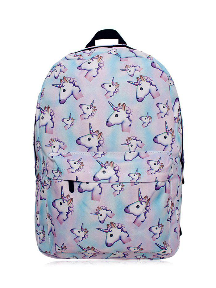 Unicorn Printed BackpackSHOES &amp; BAGS<br><br>Color: PINKISH BLUE; Handbag Type: Backpack; Style: Casual; Gender: For Women; Pattern Type: Character; Handbag Size: Medium(30-50cm); Closure Type: Zipper; Occasion: Versatile; Main Material: Polyester; Weight: 0.4500kg; Size(CM)(L*W*H): 29*14*42; Package Contents: 1 x Backpack;