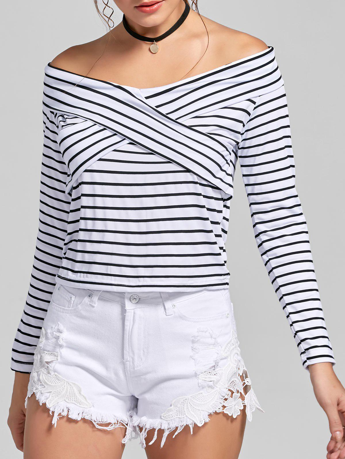 Outfits Criss Cross Stripe Off The Shoulder T-shirt