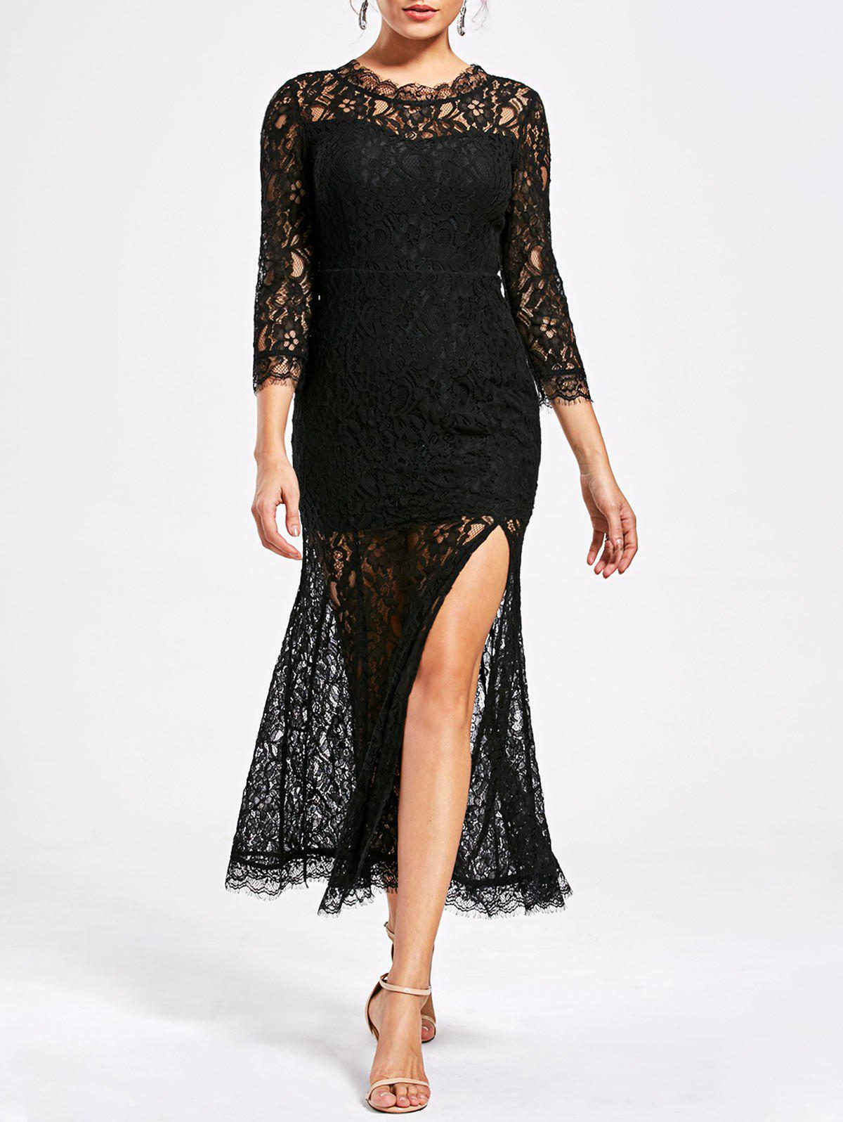 Latest Lace High Split See Thru Party Dress